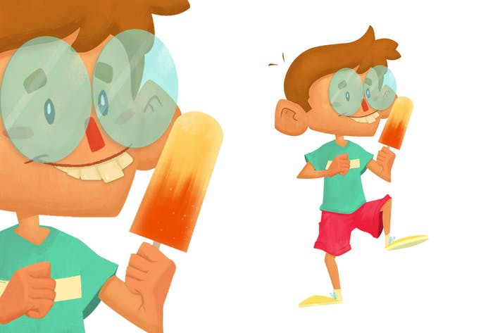 Thumbnail for Nerd Boy Eating Ice Cream Character Illustration