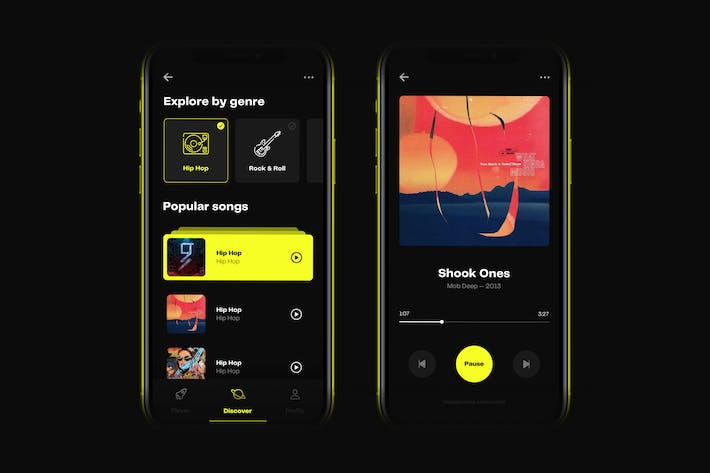Thumbnail for Music Player iOS 14 UI Kit Mobile App Template
