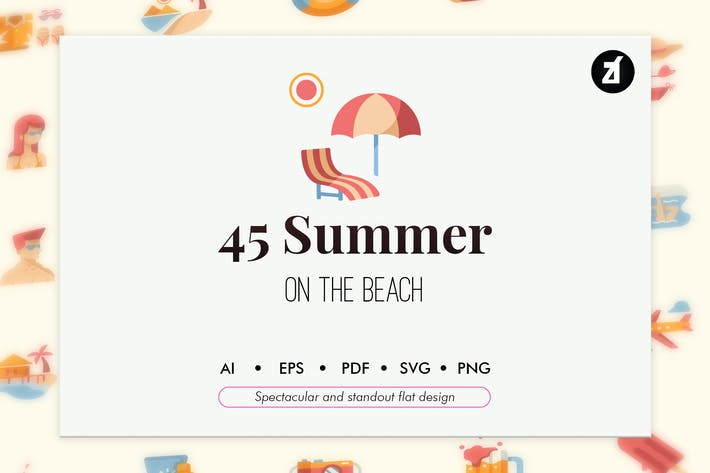 Thumbnail for 50 Summer elements in flat design