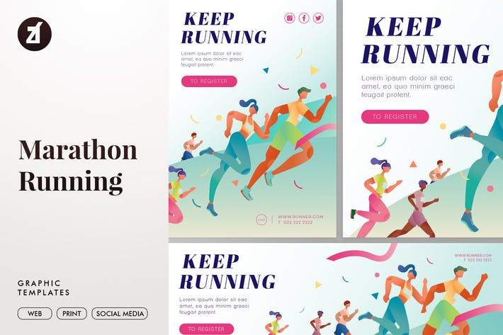 Thumbnail for Marathon running graphic templates