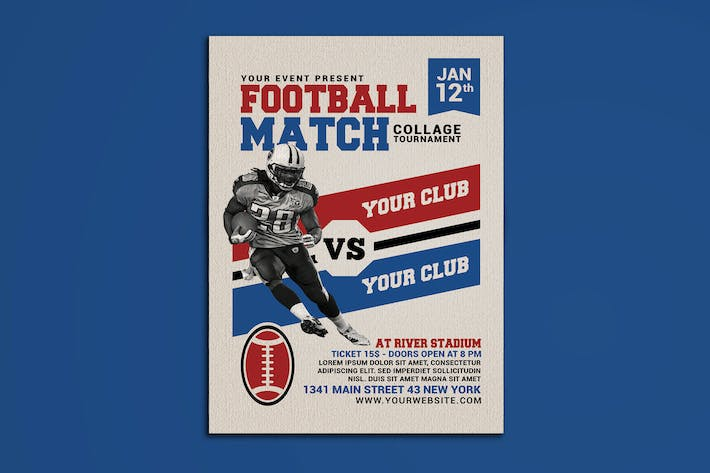 Cover Image For American Football Match Flyer