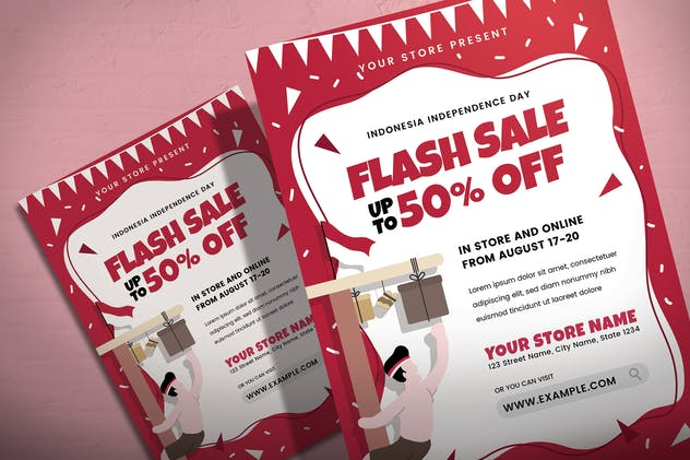 Indonesian Independence Day Sale - Flyer Template