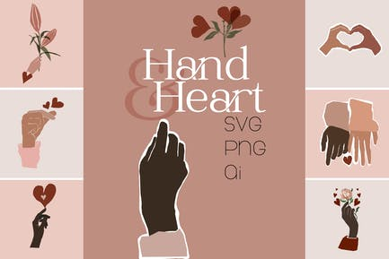 Hand- und Herz-Grafik-Set