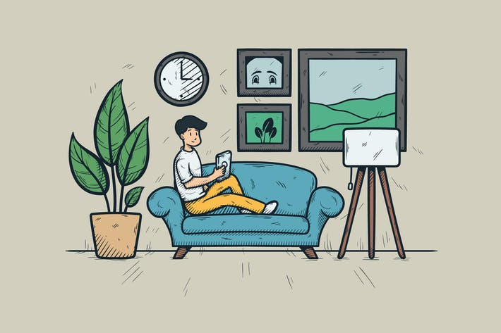 Thumbnail for A Man With Playing Smartphone On The Sofa