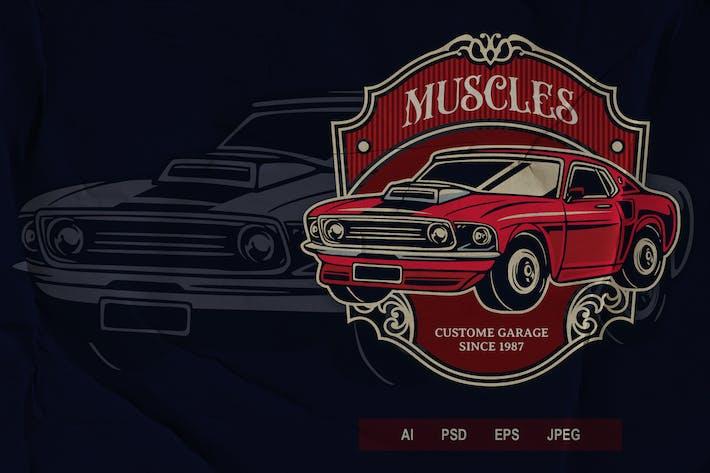 Thumbnail for Vintage Badge - Automotive Muscle Car V3