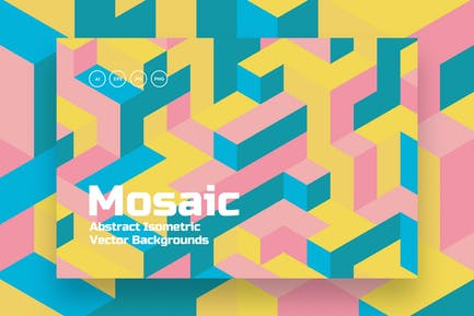 Isometric Mosaic Vector Backgrounds