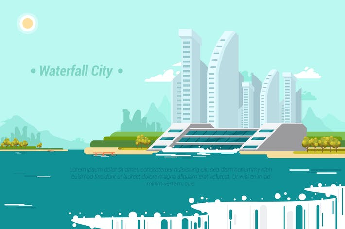 Thumbnail for WaterFall City - Vector Landscape & Building