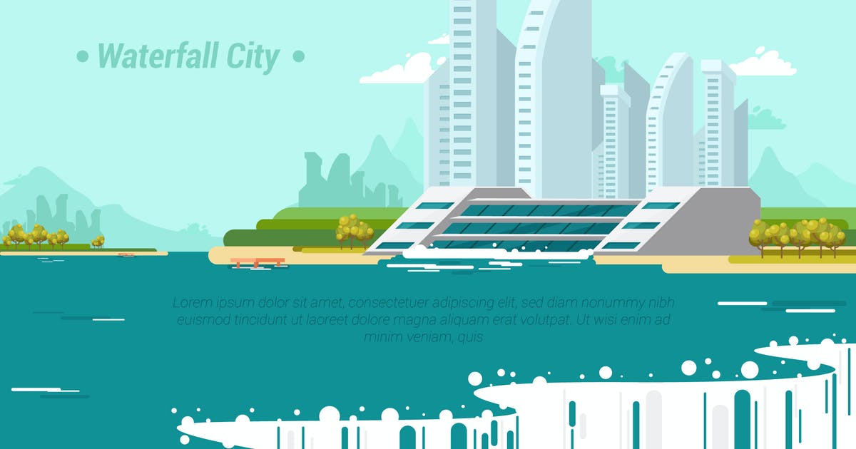 WaterFall City - Vector Landscape & Building by aqrstudio