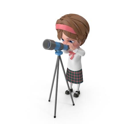 Cartoon Girl Meghan Looking Through Telescope