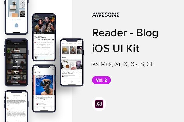 Thumbnail for Awesome iOS UI Kit - Reader Blog Vol. 2 (Adobe XD)