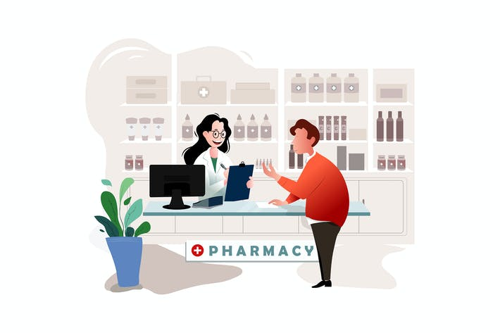 Thumbnail for Man buys drugs at the pharmacy vector Illustration
