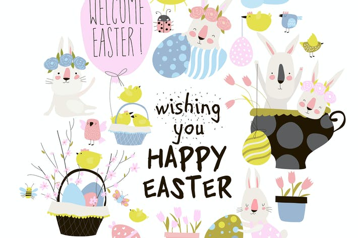 Thumbnail for Vector set of cute cartoon bunny with Easter eggs