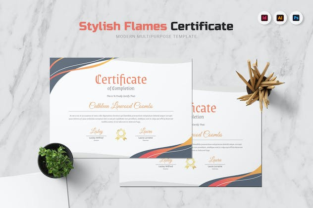 Stylish Flames Certificate