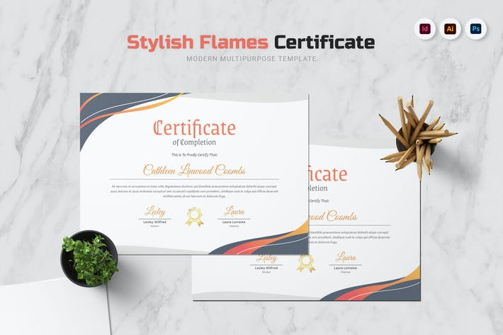 Thumbnail for Stylish Flames Certificate