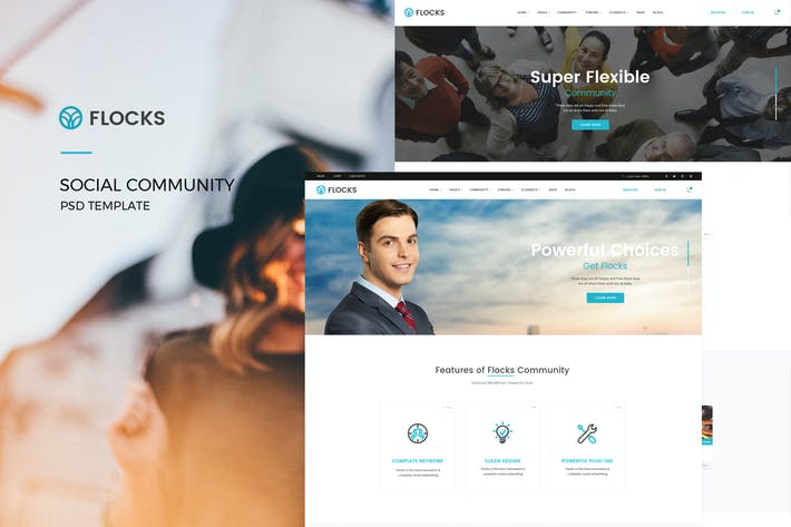 Thumbnail for Flocks : Social Community PSD Template