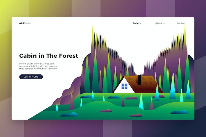 Cabin the forest - Banner & Landing Page