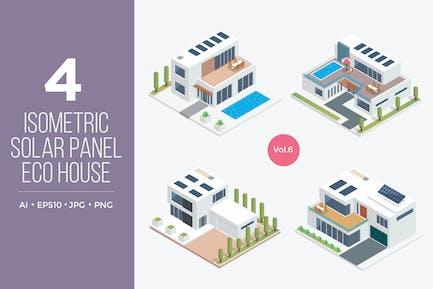 Isometric Solar Panel Eco House Vector Set 6