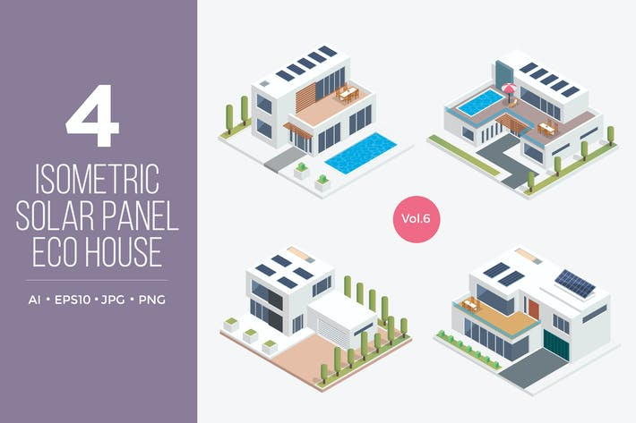 Thumbnail for Isometric Solar Panel Eco House Vector Set 6