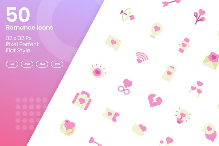 50 романтических Иконки набор - плоский