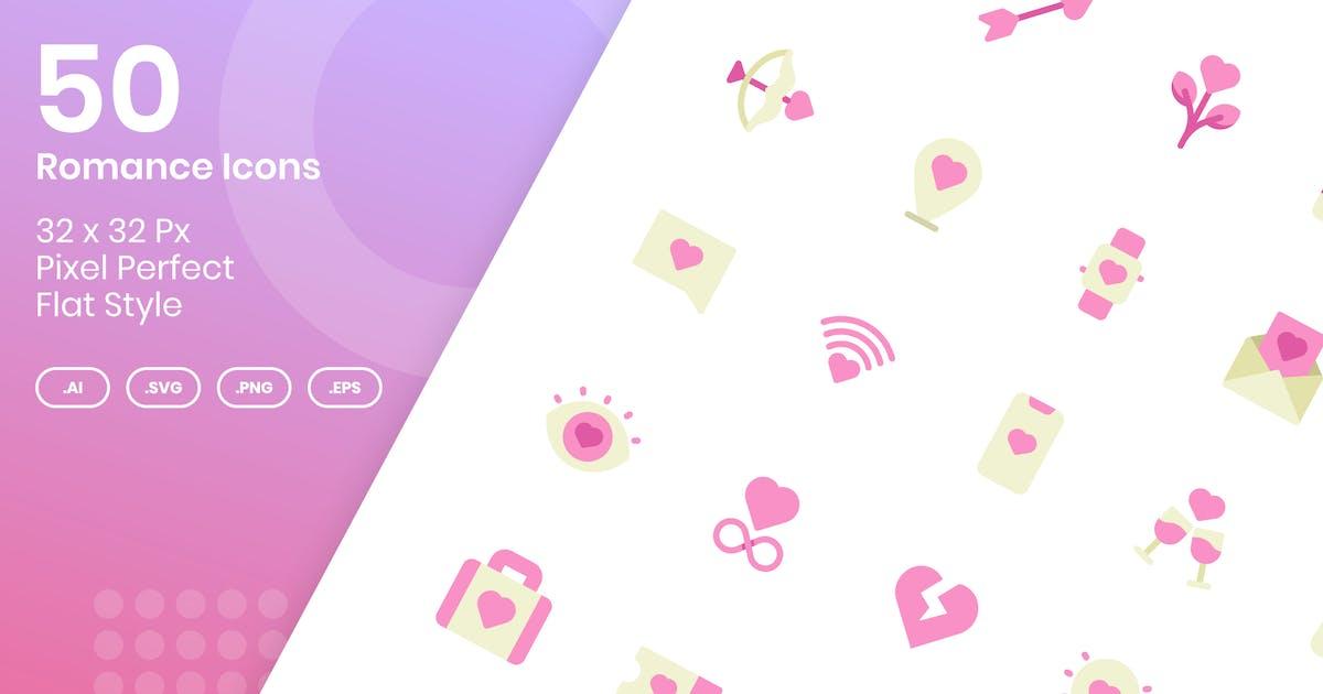 Download 50 Romance Icons Set - Flat by kmgdesignid