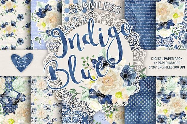 Watercolor Indigo Blue digital paper pack