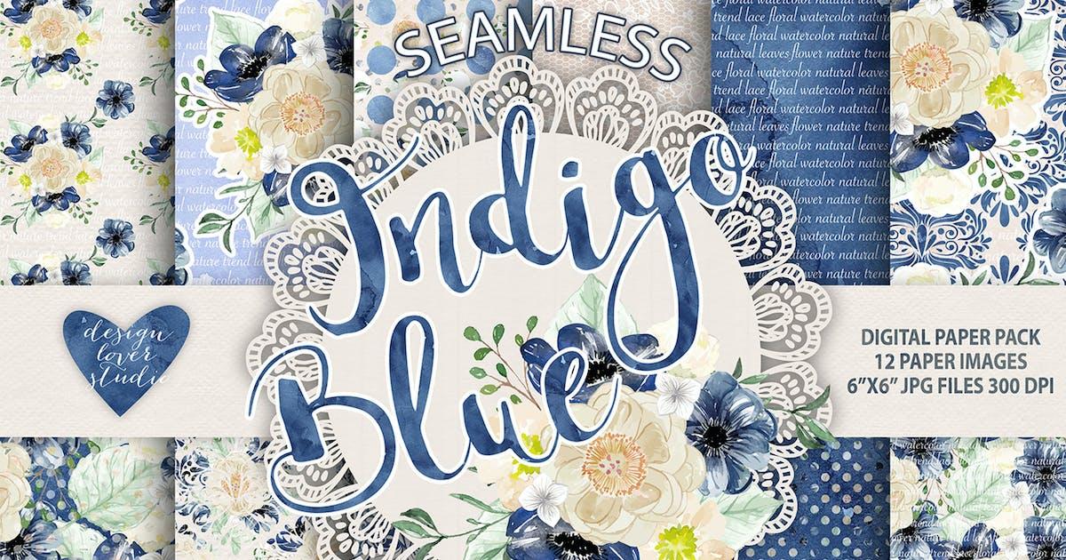 Download Watercolor Indigo Blue digital paper pack by designloverstudio