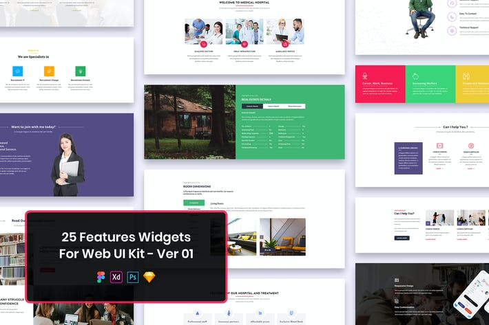 25 Features Widgets for Web UI Kit Ver-01