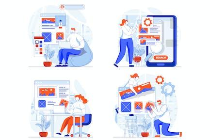 Website Design Web Concept Set