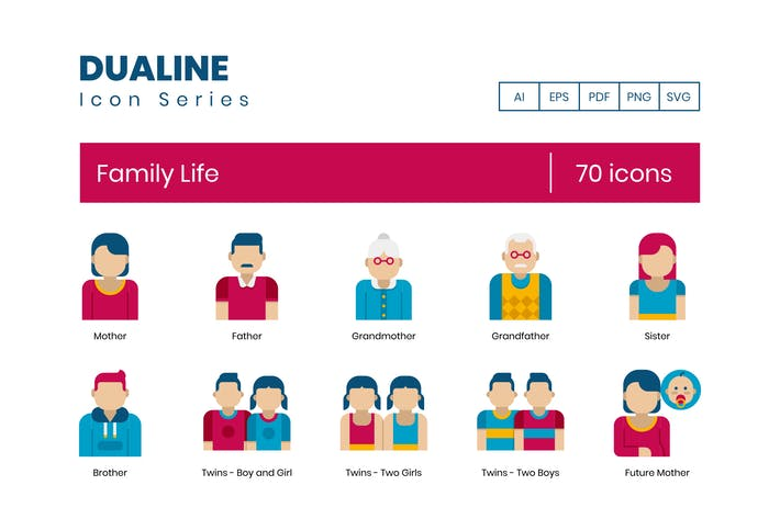 70 Family Life Icons - Dualine Flat Series