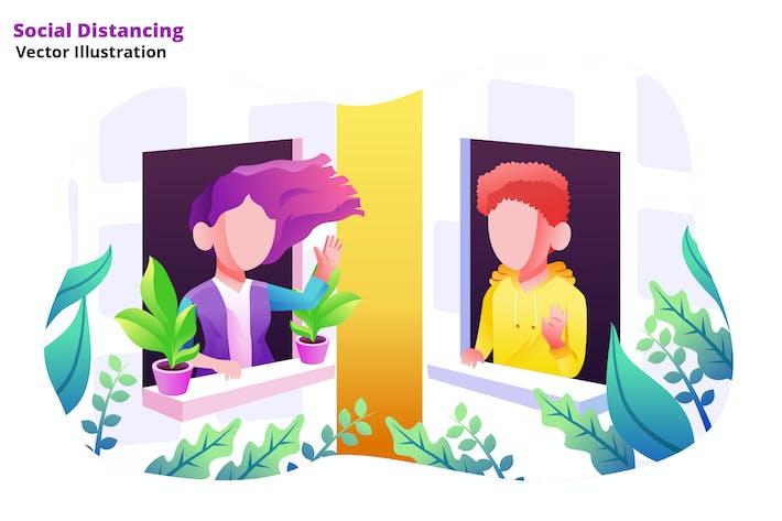 Social Distancing - Vector Illustration