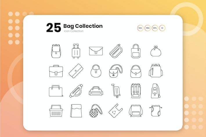 Thumbnail for 25 Bags Collection Outline Icon Set