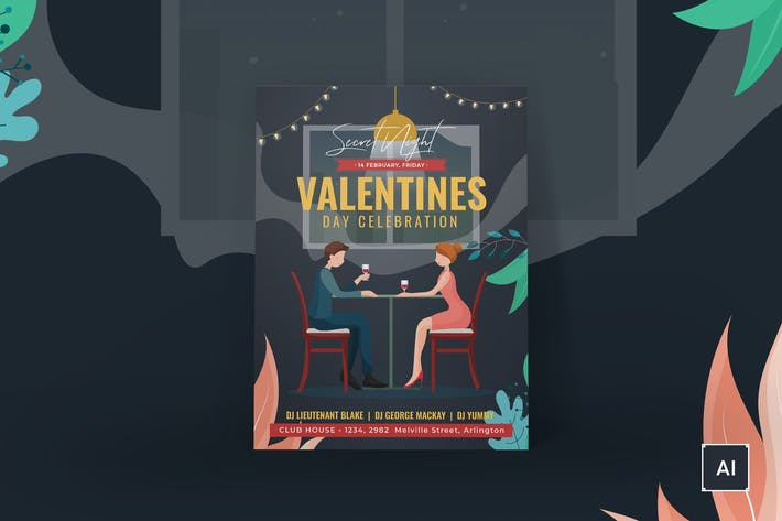 Thumbnail for Valentine's Day Poster Illustrator Template