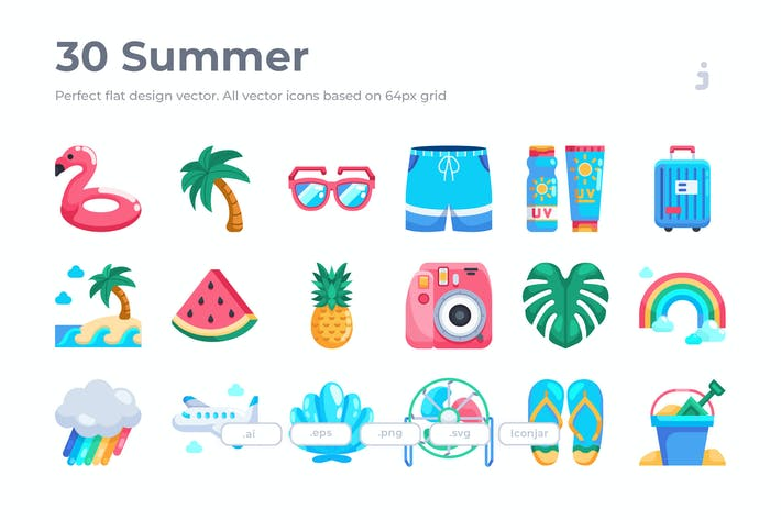 Thumbnail for 30 Summer Icons - Flat
