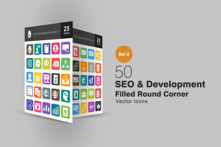 Cover Image For 50 SEO & Development Flat Round Corner Icons
