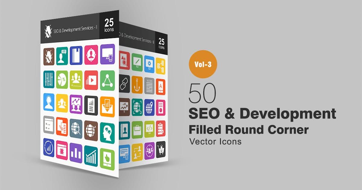 50 SEO & Development Flat Round Corner Icons by Unknow