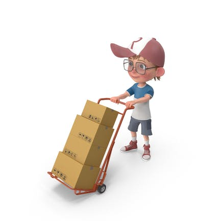 Cartoon Boy Harry Lieferung Boxen