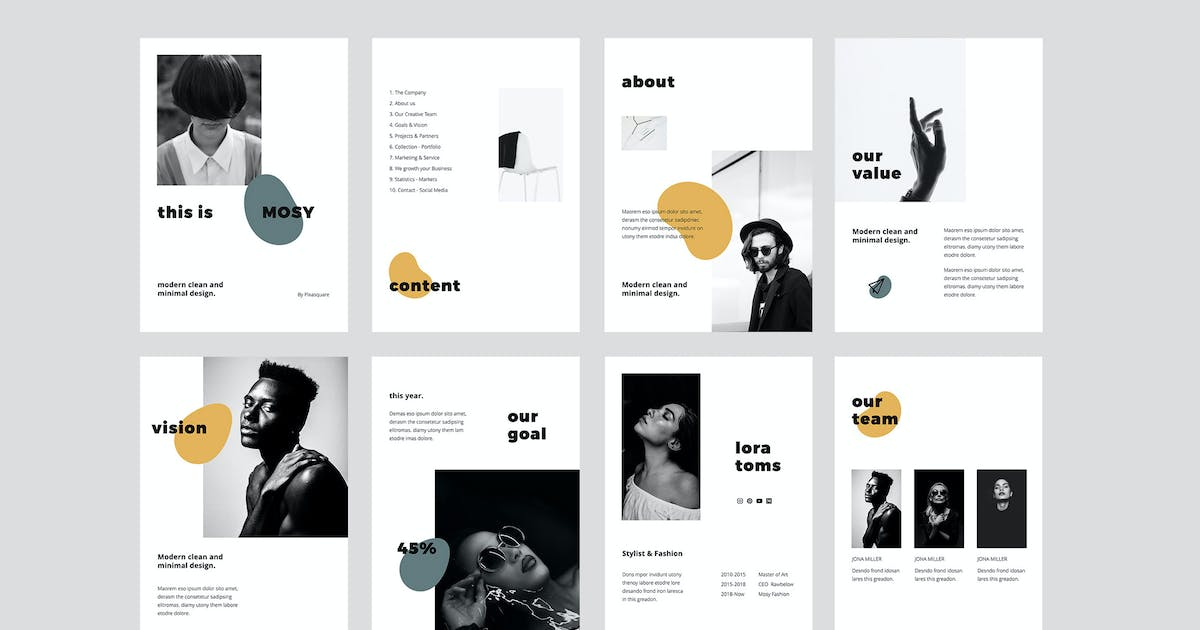 Download MOSY - A4 Vertical Keynote Template by Pixasquare