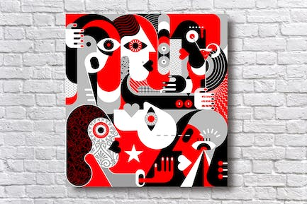 Group of People red and black vector illustration