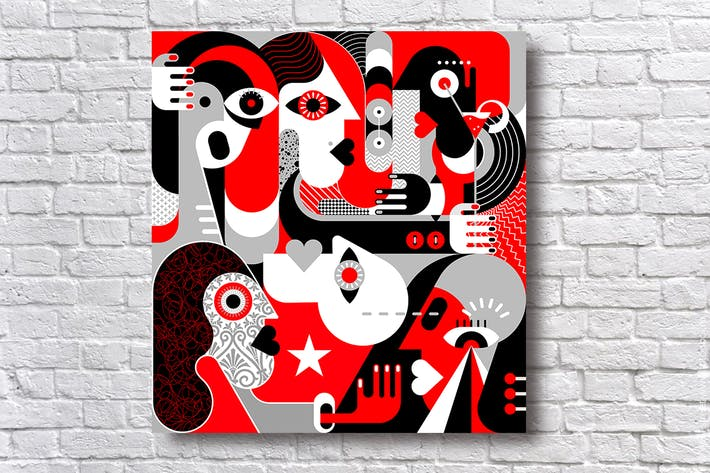 Cover Image For Group of People red and black vector illustration
