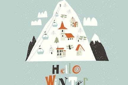 Paisaje invernal. El pueblo en el bosque
