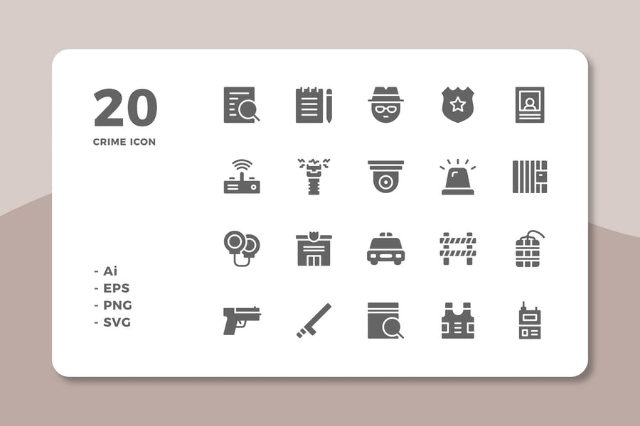 20 Crime Icons (Solid)