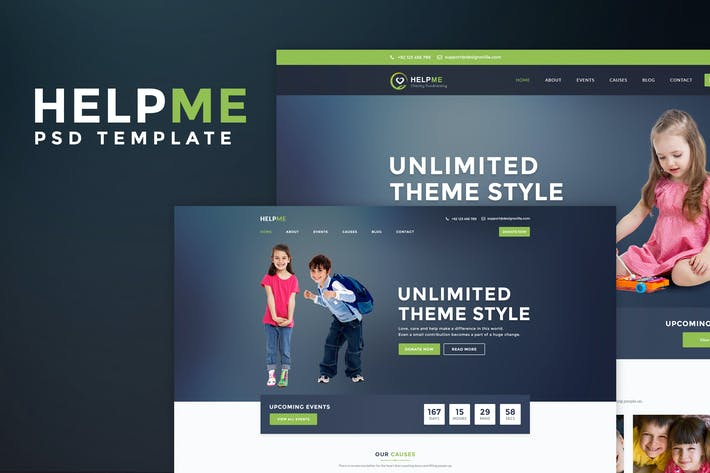 Thumbnail for HelpMe - Non-profit Charity PSD Template