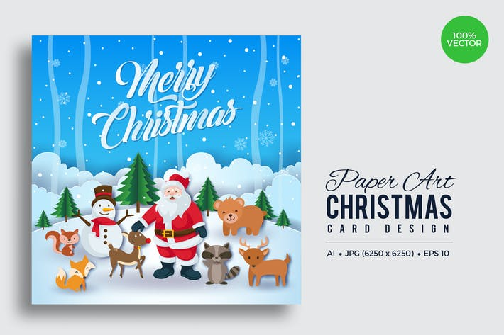 Thumbnail for Merry Christmas Square Vector Card Vol.14