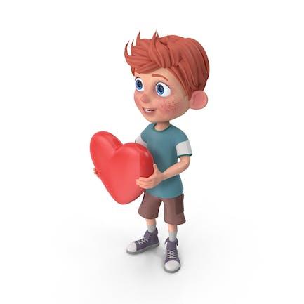 Cartoon Junge Charlie Herz
