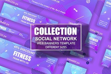 Fitness-soziales netzwerk Webbanner AnzeigenVorlage