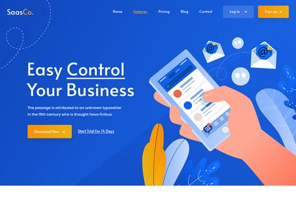 SassCo - SaSS, App Landing Page & Startups PSD Tem