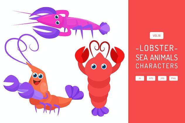 Cute Lobster - Sea Animals Characters Vol.18