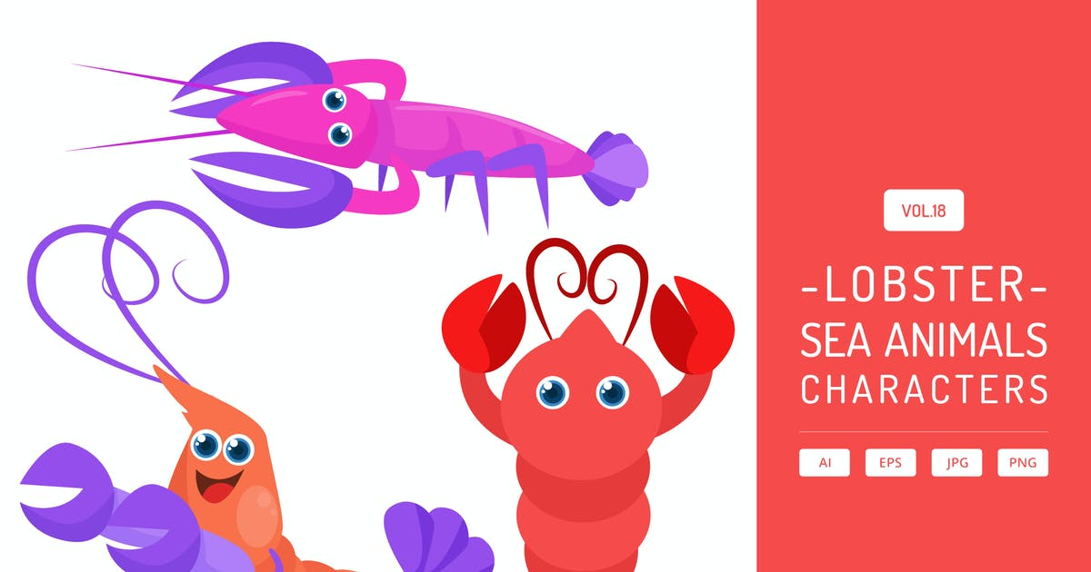 Download Cute Lobster - Sea Animals Characters Vol.18 by Graphiqa