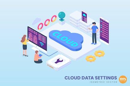 Isometric Cloud Data Settings Concept