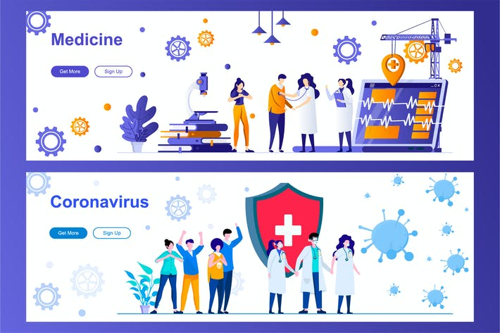Thumbnail for Medicine and Coronavirus Covid-2019 Web Banners
